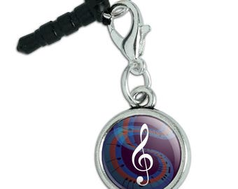 Treble Clef on Music Notes Mobile Cell Phone Headphone Jack Anti-Dust Charm fits iPhone iPod Galaxy