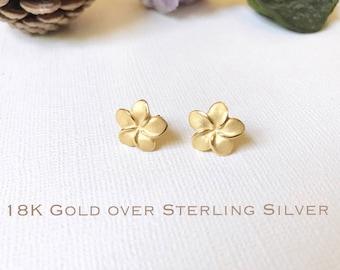 Sale! Gold over Sterling Silver, Plumeria stud earrings, Plumeria earring, Plumeria studs, Gold Plumeria, Rose Gold Plumeria, Flower earring