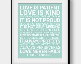 60% OFF Love Is Patient Love Is Kind It Does Not Envy, Bible Verse Print, 1 Corinthians 13:4-8, Christian Decor, Printable Scripture