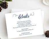 Navy Wedding Details Card - Details Reception - Printable Details Card Template - Navy Wedding - Simple - Downloadable wedding #WDH657DT279