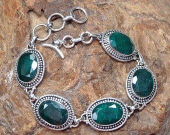"Natural Emerald Handmade Unique 925 Sterling Silver, silver adjustable bracelet Gift , 7 1/4"" S853"
