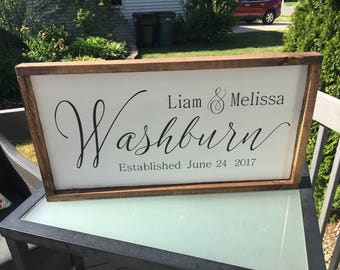 Last name wedding/anniversary rustic sign [FREE SHIPPING!]