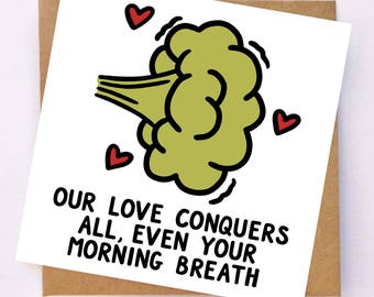 Funny I Love You Card - Funny Anniversary Card - Joke Card For Girlfriend - Humour Card For Boyfriend - Morning Breath Card - Fun Love Card