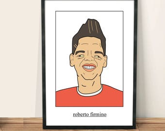 Celebrity Poortraits | Roberto Firmino | A4 | A3 | Framing available