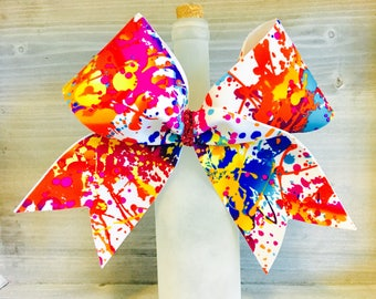 Paint Splatter Cheer Bow