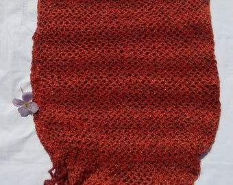 Openwork tunic orange/brown sweater