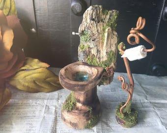 Faery Bathroom Set - fairy furniture, miniature toilet, handmade and ooak by thefaeryforest