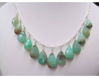 Genuine Natural large aqua blue green Peruvian Opal faceted briolettes beads sterling silver necklace and earrings set
