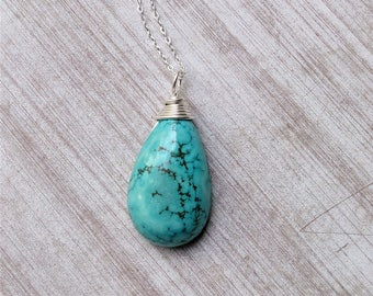 turquoise necklace, turquoise pendant, turquoise silver pendant, gift for her, healing jewelry,natural turquoise,