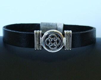 Black Leather Bracelet with Celtic Knot Slider