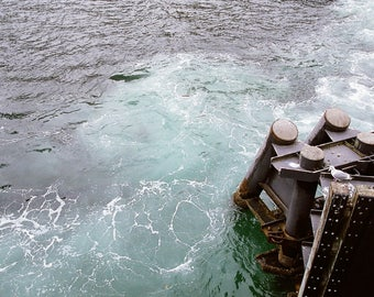 Seagull and Swirling Blues - Seattle, Washington, dock, port, seagull, water, travel photography, film, Pacific Northwest