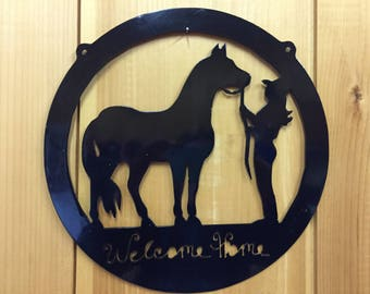 Welcome Home Horse and Cowgirl Silhouette Wall Hanging