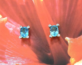 Blue Topaz Earring, 14KT Yellow Gold Blue Topaz Oval Cut W. Diamond Stud Earring, E5454