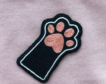Hand Embroidered Patch, Paw Patch, Cat Patch