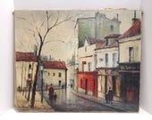 Louis Dali (1905-1994) Original  Oil Painting of Montmartrea,  French artist famous for capturing  the true atmosphere of Paris Streets