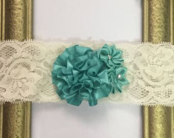 White & Teal Baby Headband, Elastic Lace Headband, Floral Band, Hair Accessories