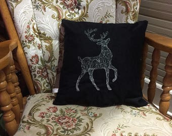 Embroidered Velvet Christmas Pillow: Filigree Deer