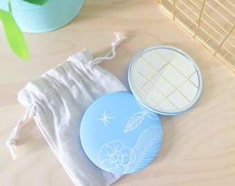 Pocket mirror, round mirror, mirror accessory, blue cotton bag, gift for woman, gift, illustration