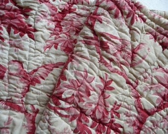 RESERVED SOLD RESERVED Antique French quilt hand stitched/ long piece of quilted fabric for reworking/raspberry red textile/