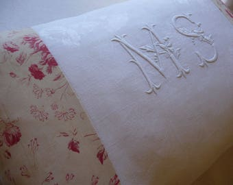 "Antique FRENCH LINEN PILLOW/ monogrammed antique / French linen /hand embroidered linen/ Monogram ""M S"" decorative pillow"