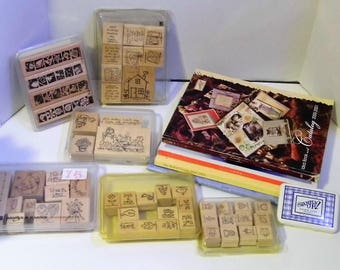 Retired 56 piece Stampin' Up! LOT - 52 Different Stamps (Many Vintage Unused)- 1 Stamp Pad - 4 Idea Books! - Ships Priority Mail World Wide!