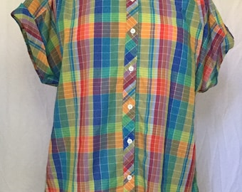 """Vintage Rainbow Plaid Blouse with Cuffed Sleeves, Red, Blue, Green, Yellow, Length 26.5"""", Chest 49"""""""