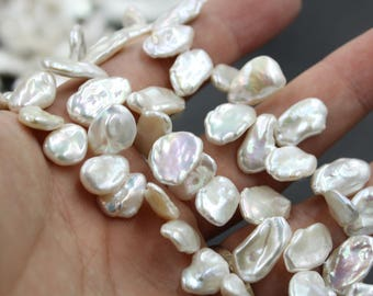 10 - 11 mm white coin freshwater pearls, white coin pearl,15'' full strand, coin pearl strands, pearl wholesale