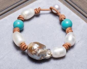 Leather pearl bracelet,Pearl leather bracelet,Leather bracelet,Pearl turquoise Bracelet,White Pearl Bracelet,Turquoise Bracelet,Friendship