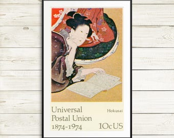 hokusai art, hokusai print, hokusai poster, katsushika hokusai, japanese art, universal postal union, US postal service, postage stamps, art