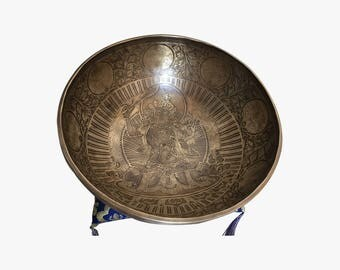 """11"""" Special Eached & Mantra Carved with Cushion and Mallet - Singing Bowl Handmade in Nepal"""