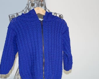 Royal blue cotton jacket with hood