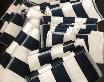 Navy and White Striped Tablecloth | Kate Spades Theme | Navy Blue | Stripe Overlay | Wedding Tablecloth | Event Tablecloth | Table
