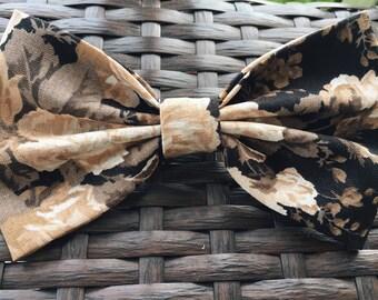 Sepia rose hair bow