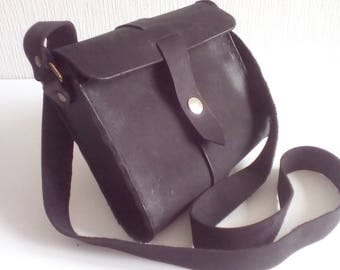 Black Leather Shoulder Handbag