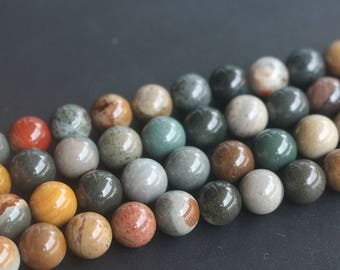 6mm 8mm 10mm  Polychrome Jasper Smooth and Round Beads,15 inches Full Strand