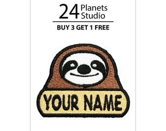 "Sloth ""Your Name"" Iron on Patch by 24PlanetsStudio Your Text Custom Made DIY"