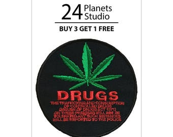 Drug Cannabis Iron on Patch by 24PlanetsStudio