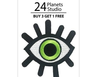 Green Lucky Eye Iron on Patch by 24PlanetsStudio