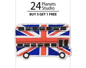 Double Decker Bus London England Great Britain UK Iron on Patch by 24PlanetsStudio
