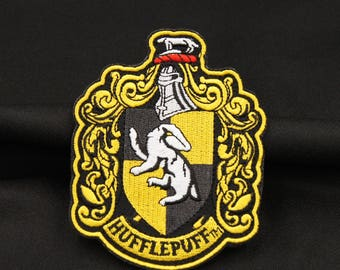 """Harry Potter HufflePuff Hogwarts School House Badge Embroidered Applique Tactical Patch. Iron On Hook Backing  4"""""""