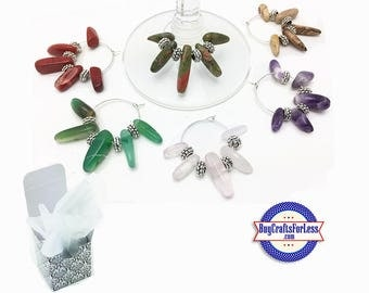 Gemstone WINE or Bottle CHARMs or Napkin Rings, FREE Gift Box, Set of 6  +FREE SHiPPiNG & Discounts*