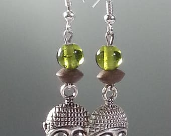 earring - dangle ethnic earrings - Silver Earring - Buddha pendant earring Buddha - green earring