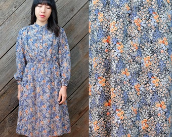 Blue and orange wildflower dress / Japanese Vintage / 60s / 70s / Banded collar / Elastic waistband / Front button closure / Size XS-S
