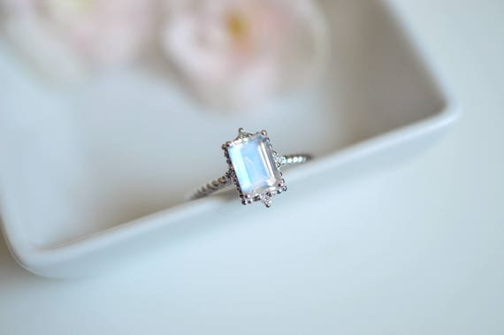 moonstone engagement ring platinum blue moonstone engagement ring white gold moonstone wedding ring princess antique vintage moonstone ring - Moonstone Wedding Ring