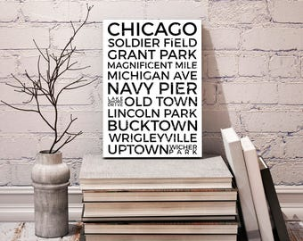 Chicago Poster, Minimalism Poster, IL Neighborhood Print, Chicago Neighborhood Typography City Map Prints