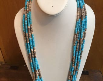 Native American hand cut Heishi and turquoise  multi-strand necklace
