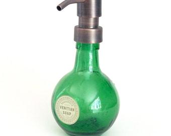 Small Green Glass bottle soap dispenser, green glass soap dispenser, round soap dispenser, lotion dispenser,