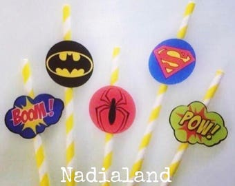 8 paper straws decorated with Super heroes tag/child birthday/Party Theme/children's party decorations