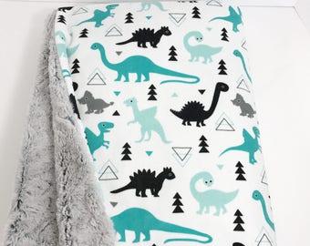 Baby Blanket - Minky Baby Blanket - Dinosaur Baby Blanket - Baby Boy Blanket - Dinosaur Nursery - Mint Baby Blanket - Gray Baby Blanket