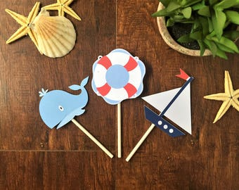 Nautical Cupcake Toppers, boat cupcake toppers, boy baby shower decorations, whale cupcake toppers, sailor party decorations, sail boat